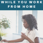woman sitting on exercise ball while working in home office. Stay Healthy While Working From Home - My Fit Habits
