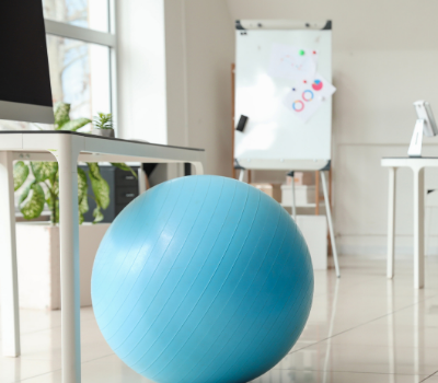Exercise ball; equipment to keep at the office. My Fit Habits